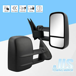 Pair For 99 06 Chevy Gmc Silverado Sierra Manual Adjust Side View Towing Mirror