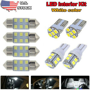 8x White Led Bulb For Car Dome Map License Plate Light Interior Led Package Usa