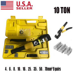 Hydraulic Wire Battery Cable Lug Terminal Crimper Crimping Tool W 9 Dies 10 Ton