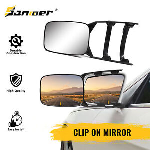 2x Clip On Towing Mirror Universal For Trailer Safe Hauling Adjustable Extension