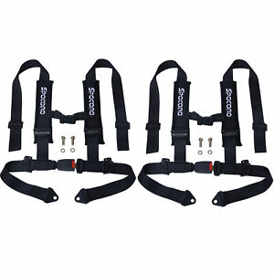 2 X Spocoro 2 4 point Buckle Racing Safety Harness Seat Belts For Utv atv black