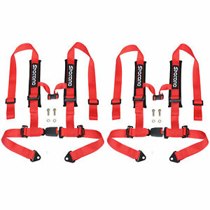 Spocoro 2 4 Point Buckle Racing Safety Harness Seat Belts For Utv atv red pair