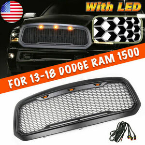 Fit For 2013 2018 Dodge Ram Mesh Grille Rebel Style Front Grill Hood Led Yv