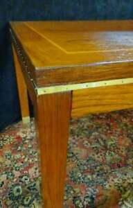 Mid Century Inlaid Rosewood Brass Bound Dining Room Table 30 H 60 W 36 D