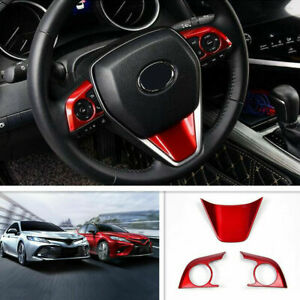 For 2018 2019 2020 Toyota Camry Abs Red Interior Steering Wheel Cover Trim 3pcs
