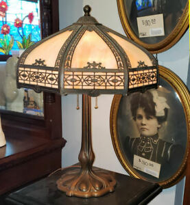 Antique Table Lamp Carmel Colored Stain Glass Paneled Shade Beautiful