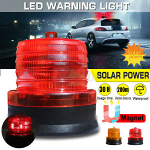 Led Solar Panel Power Car Emergency Warning Strobe Light Beacon Alarm Flash