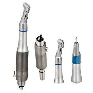 4 hole Dental Slow Low Speed Straight Handpiece Contra angle air Motor Kit 3pc