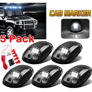 5x Black Smoked Len White Led Cab Roof Marker Running Lights For 03 18 Dodge Ram