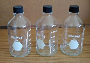 Kimax 35 Glass 500ml Graduated Media Bottle With Screw Cap Autoclavable Lot Of 3