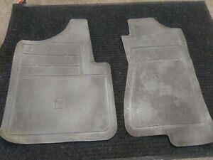 Two Oem Gm Gray Rubber vinyl Front Floor Mats W gm Logo For Trucks 1990 1999