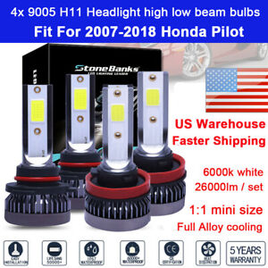 For Honda Pilot 2012 2013 4x Headlight 9005 H11 White Led Bulb High Low Beam Set