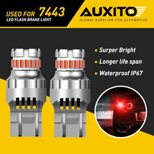 Auxito 7443 T20 7440 Red Led Strobe Flash Blinking Brake Tail Light Bulbs Canbus