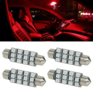 4x Red Led Interior Lights Dome Lamp 12smd Trunk Cargo Lamp For Ford F Series