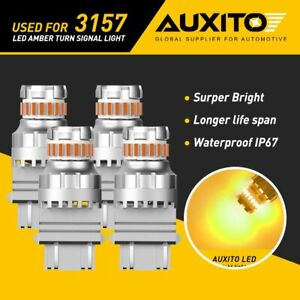 4x Auxito 3157 3156 3057 4157 Amber Led Turn Signal Indicator Parker Light Bulbs