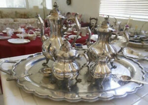 F B Rogers Silver Plated Coffee Tea 5 Pieces Set Looks Great Tray Include
