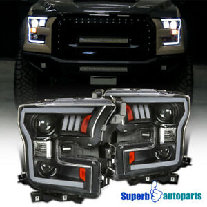 For 2015 2017 Ford F150 Led Drl Projector Headlights Black W Turn Signal Lamps