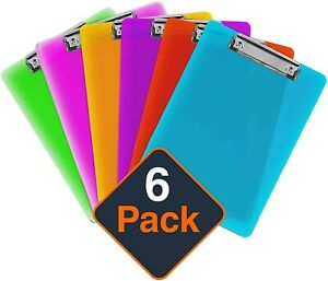 Plastic Clipboards set Of 6 Multi Pack Clipboard colored Assorted Strong 12