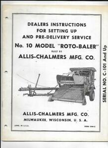 Allis chalmers No 10 Model Roto baler Dealers Instructions Setting Up Manual