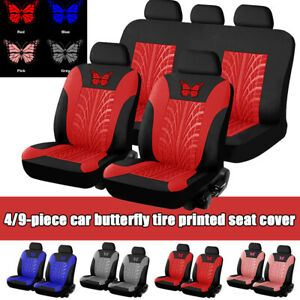 4 9pcs Full Set Universal Car Seat Covers Kit 3d Butterfly Tire Embossed Pattern