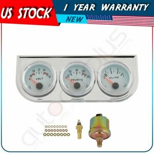 Chrome Triple Gauge Set Water Temp Voltmeter Oil Pressure Gauge White Shell