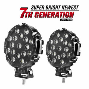 2 7inch 51w Round Led Work Light Spot Off Road For Fog Driving 4wd Boat Black