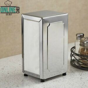 Stainless Steel Tall Fold Two Sided Tabletop Napkin Dispenser Rectangle Silver
