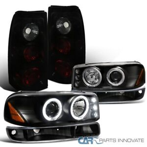 For Gmc 99 03 Sierra Fleetside Projector Headlights Bumper Lamp Black Tail Light