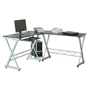 L Shape Computer Desk Workstation With Pull Out Keyboard Tray Black