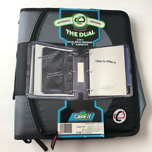 Case it The Dual 2 In 1 Dual Ring Binder 1 5 D rings Dual 101 Black And Grey