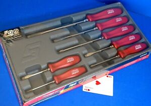 Snap On 7 Piece Red Hard Grip 100th Anniversary Combination Screwdriver Set New