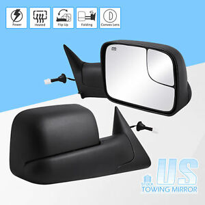 Pair Fit For 98 01 Dodge Ram 1500 2500 3500 Flip up Power heated Towing Mirrors