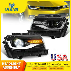 Headlights For 2014 2015 Chevy Camaro Led Sequential Drl Front Lamps Projector