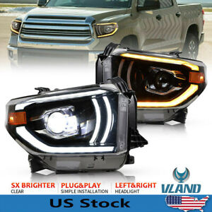 Led Headlights For Toyota Tundra 2014 2019 W Amber Lamps Sequential Projector