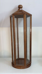 Vintage Hexagon Shaped Solid Wood Glass Handmade Display Case 27 Inches Tall