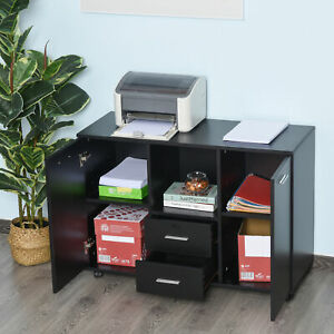 Vinsetto Printer Stand Office Cabinet 360 Degree Casters P2 Particle Board Black