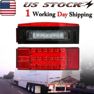 Left right Led Submersible Red Rectangle Boat Trailer Stud Stop Turn Tail Lights