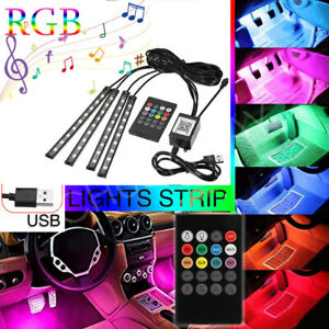 Led Glow Interior Car Lamp Kit Under Dash Foot Well Seats Inside Lighting Usb