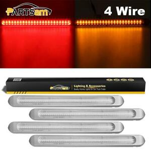 4x Clear 24 Red 23 Amber Led 17 Chrome Car Truck Stop Turn Tail Light Bars