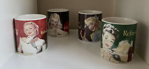 Lot Of 4 Vintage Coca Cola Mugs 40's Girls. Refreshing & Have A Coke Set