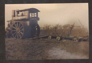 REAL PHOTO HART PARR TRACTOR FARMING FARM IMPLEMENT POSTCARD COPY