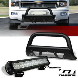 For 2007 2018 Silverado sierra 1500 Textured Black Mesh Bull Bar 120w Led Light