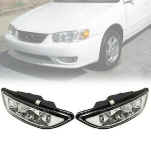 Clear Lens Front Bumper Driving Fog Light Lamp For 2001 2002 Toyota Corolla