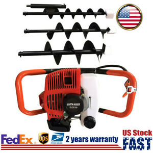 Post Hole Digger Gasoline Engine Earth Auger Tool Kit 2 Stroke 52cc 3 Drill Bit