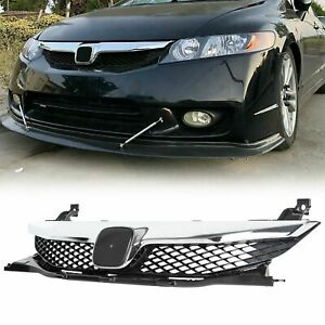 Fits For Honda Civic 2009 2011 4dr Front Bumper Grill Grille With Chrome Trim