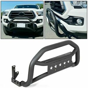 Front Bumper Grille Guard For 2005 2021 Toyota Tacoma Textured Black Bull Bar