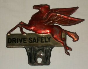 Vintage Mobile Gas Pegasus License Plate Topper Harley Indian Chevy Ford Nice