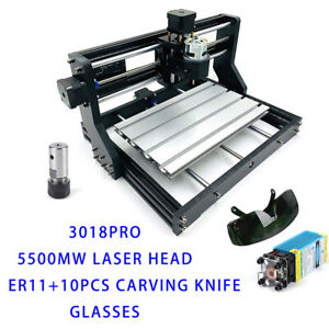 Cnc 3018pro Router Engraving Machine Pcb Wood Diy Mill Drill 5500mw Laser Head