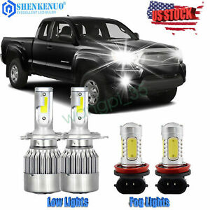 For Toyota Tacoma 2012 2015 Combo Kit 4x 6000k Led Headlight High low Fog Lights
