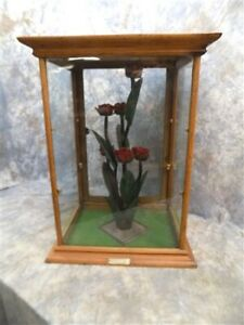National Wood Framed Glass Vintage Showcase Country Store Counter Top Display M